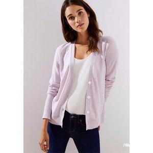 LOFT wool blend purple button up cardigan XS